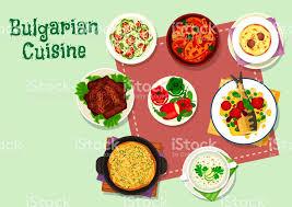 cuisine bulgare icône de menu de dîner de cuisine bulgare pour la conception de