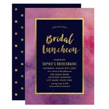 bridal luncheon gifts purple pink watercolor faux gold bridal luncheon card
