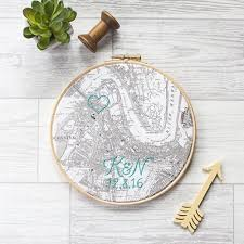 cotton anniversary gifts machine embroidered cotton map hoop house of whatnot award