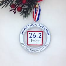 marathon runner personalized christmas ornament personalized