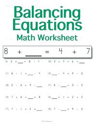 customizable and printable balancing math equations worksheet