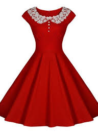 red vintage dress with lace collar lace collar vintage dresses