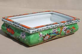 vintage hand painted japan pottery planter rectangular dish for