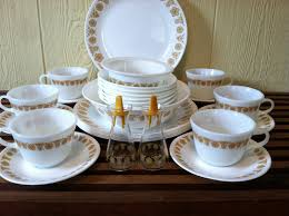 thanksgiving dishware vintage pyrex corelle gold butterfly 28 piece dinnerware set