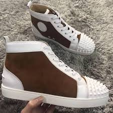 high top 2018 red bottom sneakers shoes spikes toe lace up casual