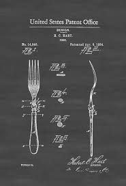 Kitchen Chef Decor by 1884 Fork Patent Kitchen Decor Restaurant Decor Patent Print