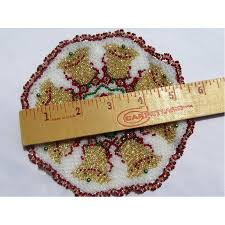Beaded Home Decor Beaded Doily Christmas Bells Hand Made Home Decor