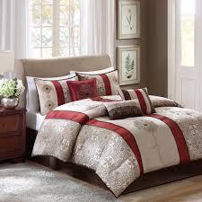 Grey California King Comforter Madison Park Blaine Taupe Red Brown Stripe Cal King 7 Pc Comforter