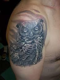 Owl Shoulder - 57 black owl tattoos ideas