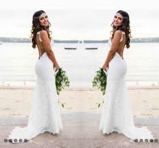 lace wedding dresses country style count train deep v neck