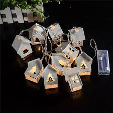 litake 10 led house shape lights battery operation wooden