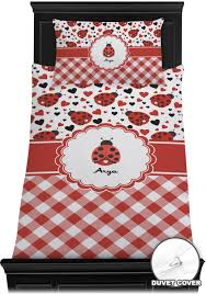 Red Gingham Duvet Cover Ladybugs U0026 Gingham Duvet Cover Set Personalized Baby N Toddler