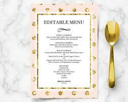 Buffet Menu For Wedding by Bridal Shower Menu Etsy