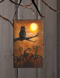 radiance flickering light canvas radiance lighted canvas be wise halloween owl ornament shelley b