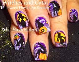 halloween nail art witch nails pumpkin and witches nail