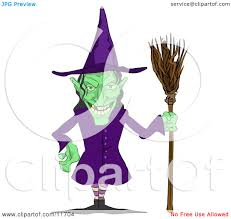 Ugly Green Ugly Green Witch With A Broom Clipart Illustration By