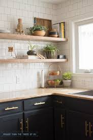 Kitchen Shelves Instead Of Cabinets Kitchen Reveal With Dark Cabinets And Open Shelving Bigger Than