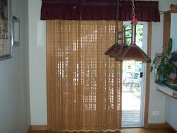 Single Patio Door Brown Valance And Etnic Brown Curtain For White Wooden Patio