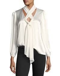 criss cross blouse ella moss bianka crisscross neck satin blouse neiman