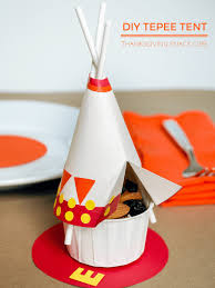 thanksgiving tepee and mayflower snack cups for the kids table