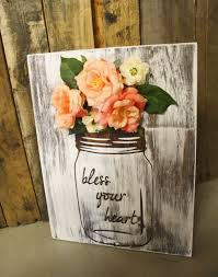 mason jar floral decorations with whitewash finish