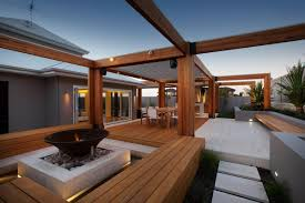 Timber Patios Perth by Stylish Backyard With Teak Decking Idesignarch Interior Design