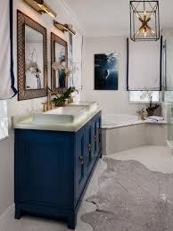 bathroom navy vanity small bathroom wooden floor lighting for