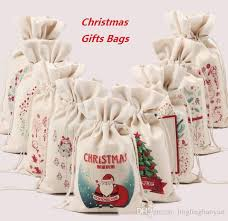 monogrammable items new christmas canvas monogrammable santa and the reindeer string bag