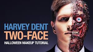 harvey dent two face halloween makeup tutorial youtube