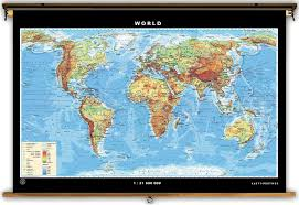 Canada Map Labeled by Klett Perthes Physical U S U0026 World Map Spring Roller Combo Set