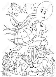 octopus coloring page coloring pages animals octopus turtle fish and hermit crab stock