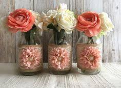 Mason Jar Vases Wedding Rustic Burlap And White Lace Covered Mason Jar Vases Wedding