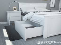Bed Furniture White Queen Bed Frame With Under Bed Storage Drawers Hardwood