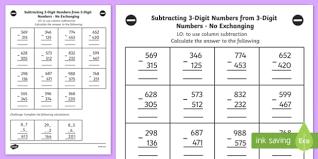 subtracting 3 digit numbers from 3 digit numbers worksheet year