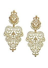 nickel free earrings statement earrings in gold lace inspired chandelier