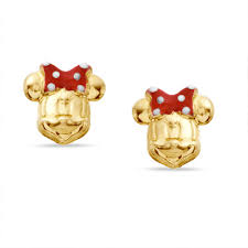 minnie mouse earrings child s enamel minnie mouse stud earrings in sterling silver with