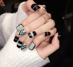 online shop new yunail 24pcs green and black short fake nails oval