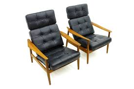 Swedish Leather Recliner Chairs Danish Reclining Lounge Chairs Teak And Leather By Arne Vodder