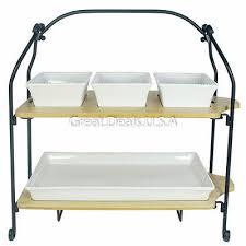 2 tier buffet server stoneware oven safe serving platter 2 bamboo
