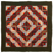 calico barn raising log cabin quilt for sale at 1stdibs