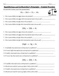 equilibrium and lechatelier u0027s principle practice worksheet tpt