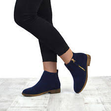 womens navy ankle boots uk mustang womens navy flat low heel chelsea ankle boots uk 4 ebay