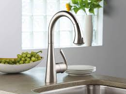 gold kohler kitchen sink faucets single hole handle pull out spray