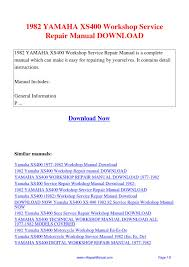 1982 yamaha xs400 workshop service repair manual pdf by david
