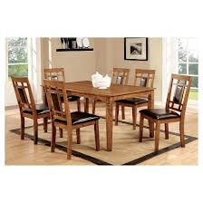 Light Wood Dining Room Furniture Mibasics 7pc Square Dining Table Set Wood Light Oak Target