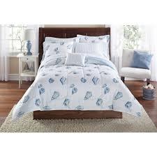 Beachy Comforters Mainstays Seashells Bed In A Bag Coordinated Bedding Set Walmart Com