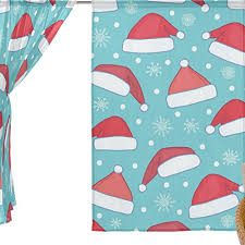 Christmas Office Window Decorations by Alaza Window Sheer Curtain Panels Christmas Decoration Blue Santa