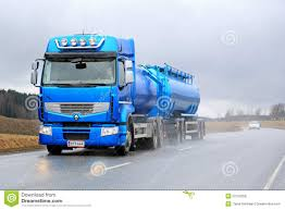 renault truck premium blue renault premium 460 tank truck in rainy conditions editorial