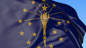 Indiana Flag Images Waving Flag Of Indiana State Against Blue Sky Seamless Loop 4k