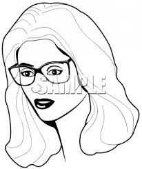 glasses clipart black and white image of pretty woman wearing glasses royalty free